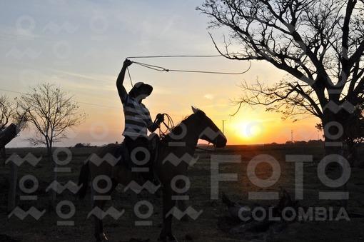 Llanero tremolando su lazo al atardecer,Arauca / Ranger fluttering his tie at sunset,Arauca